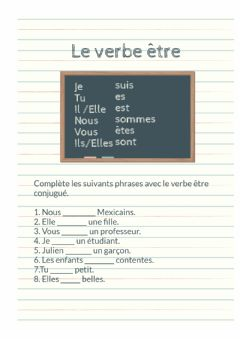 Interactive worksheet Le verbe être