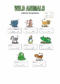 Interactive worksheet Wild animals - can-can't