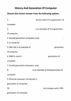 Interactive worksheet Class-6 Computer Worksheet Part-2