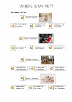 Interactive worksheet Where is my pet?