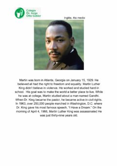 Interactive worksheet Reading comprehension- Martin Luther King