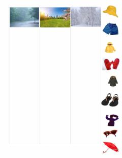 Interactive worksheet Match Clothing Item to Weather