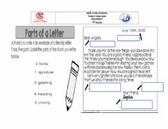 Interactive worksheet Parts of a thank you letter