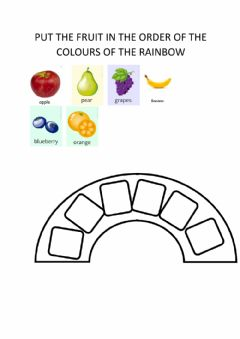 Ficha interactiva Listen and put the fruit according to the colours of the rainbow