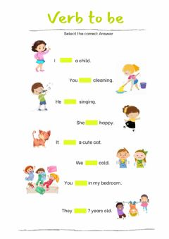 Interactive worksheet Verb to be practice