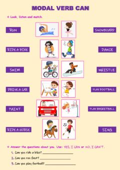 Interactive worksheet Modal Verb Can