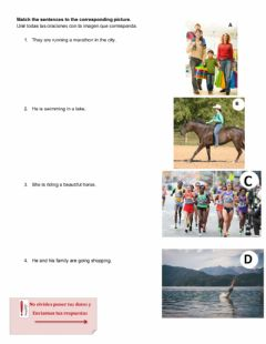 Interactive worksheet Match the pictures to the sentences.
