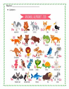 Ficha interactiva Animal Alphabet Zoo (Listening)