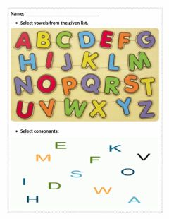 Interactive worksheet Vowels And Consonants