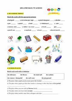 Ficha interactiva School things and school rules