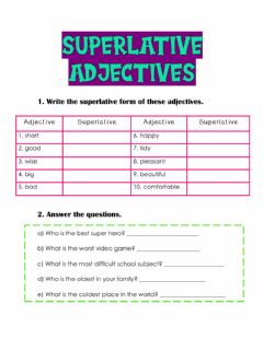Interactive worksheet Superlative