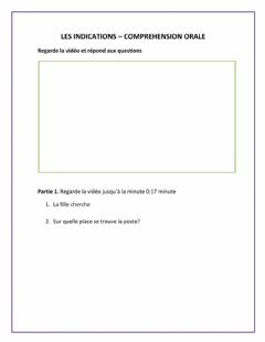 Interactive worksheet Les indications - Comprehénsion Orale