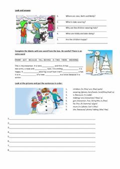 Interactive worksheet Winter - Present Continous- Why - clothes