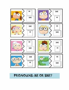 Interactive worksheet Pronouns: he or she?
