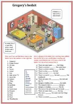Interactive worksheet Prepositions of place and furniture