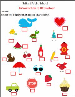 Interactive worksheet Red colour