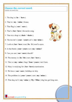 Interactive worksheet Possessive Adjectives-Pronouns As79