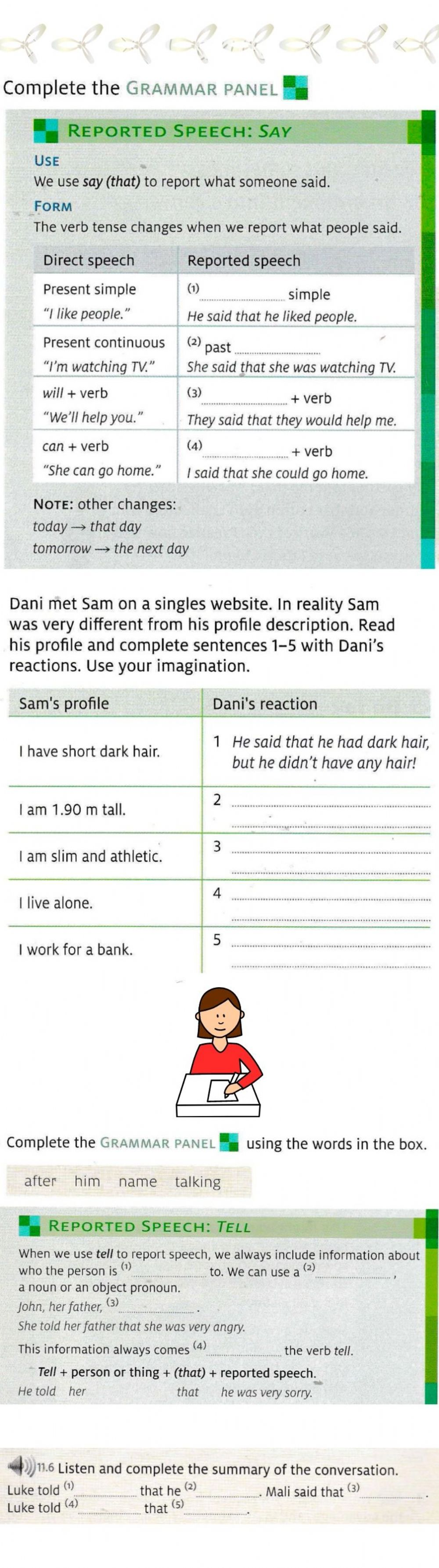 Reported Speech Say and tell worksheet