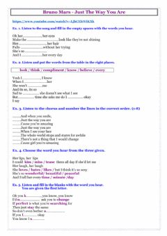 Interactive worksheet Just the way you are - song