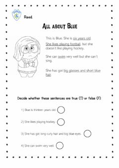 Interactive worksheet All about blue