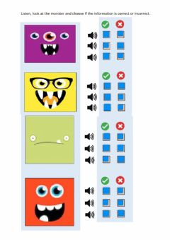 Ficha interactiva Listen, look at the monsters and select correct or incorrect