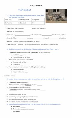 Interactive worksheet Listening - past tenses