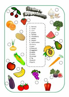 Interactive worksheet Friut and Vegetables