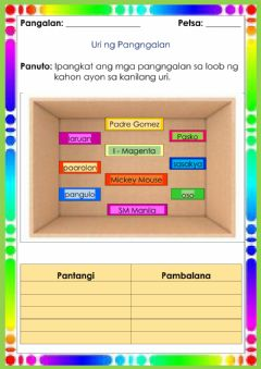 Interactive worksheet Uri ng Pangngalan
