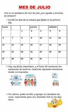 Interactive worksheet Mes de julio