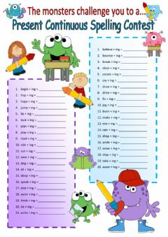 Interactive worksheet Present Continuous Spelling Rules