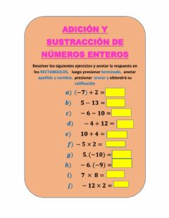 Interactive worksheet Números enteros