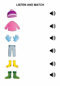 Ficha interactiva Winter clothes - listen and match