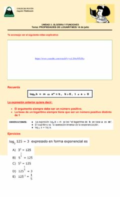 Interactive worksheet Logaritmos