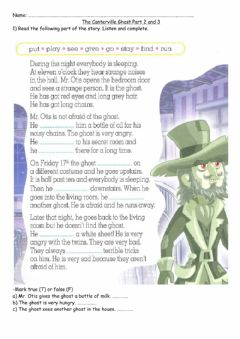 Interactive worksheet The canterville ghost part2 and 3