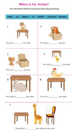 Interactive worksheet Prepositions of place (in, on, under, in front of, behind, next to, between)