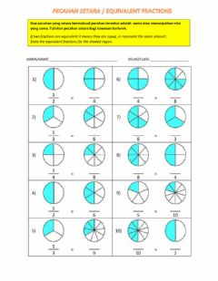 Interactive worksheet Pecahan setara - EQUIVALENT FRACTIONS