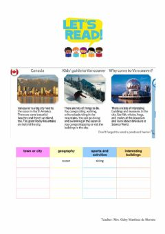 Interactive worksheet Read about canada