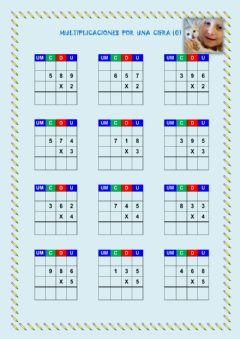 Interactive worksheet Multiplicaciones 1 cifra (0)