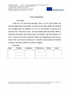 Interactive worksheet La vie de Yaelle