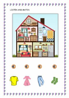 Interactive worksheet Clothes and parts of the house