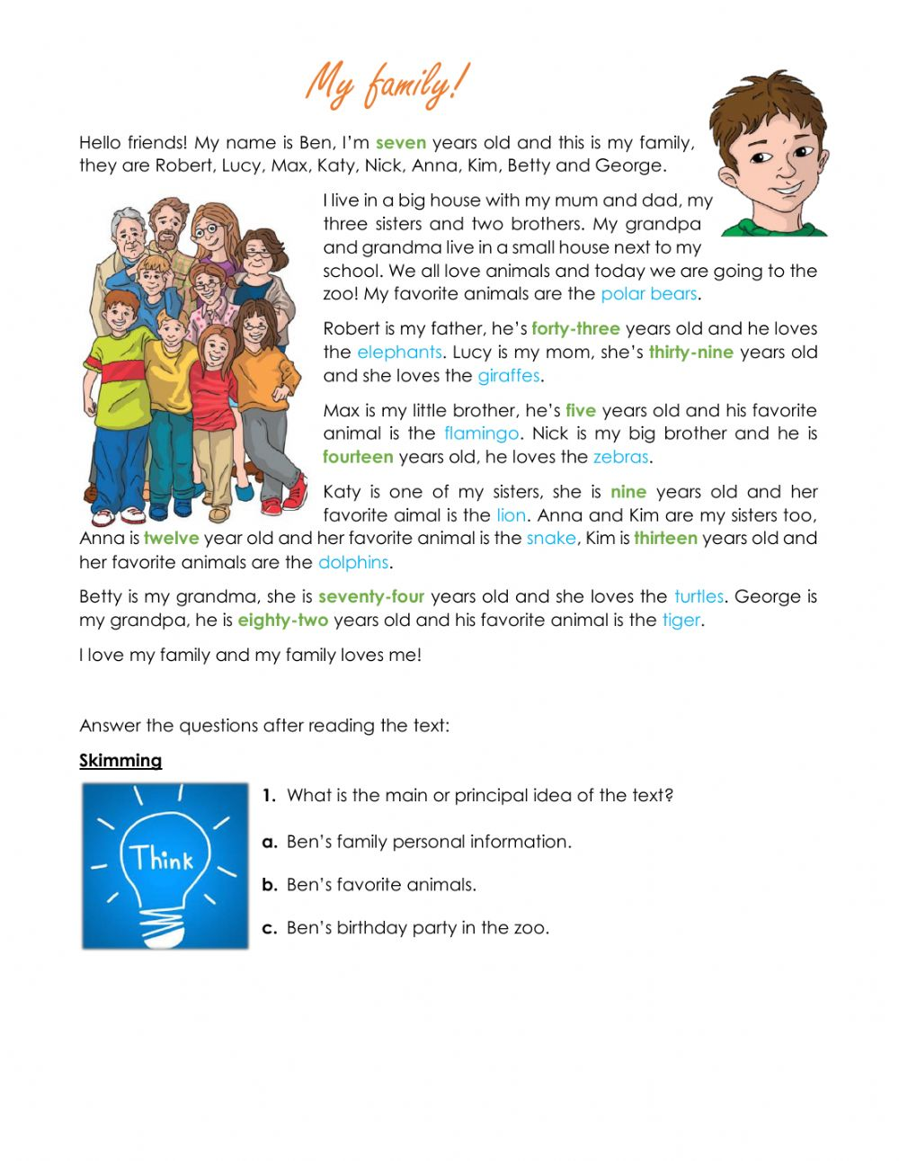 Reading comprehension   My family worksheet