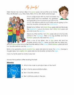 Interactive worksheet Reading comprehension - My family