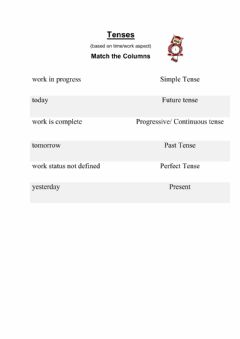Interactive worksheet Tenses - based on time and work aspect