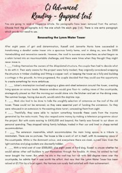 Interactive worksheet C1 Advanced - Reading Gapped text - (16.07)