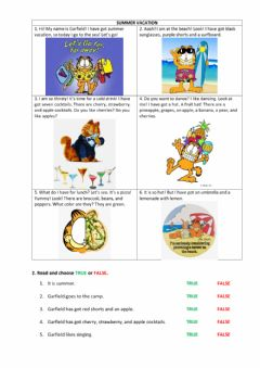 Interactive worksheet Garfield's summer vacation