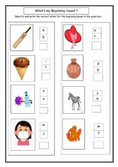 Ficha interactiva Beginning Sound Worksheet