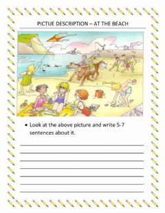 Interactive worksheet Picture description – at the beach