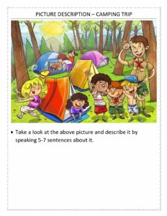 Interactive worksheet Picture description – camping trip