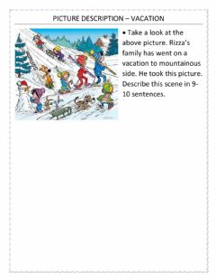Interactive worksheet Picture description – vacation