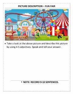 Interactive worksheet Picture description – fun fair